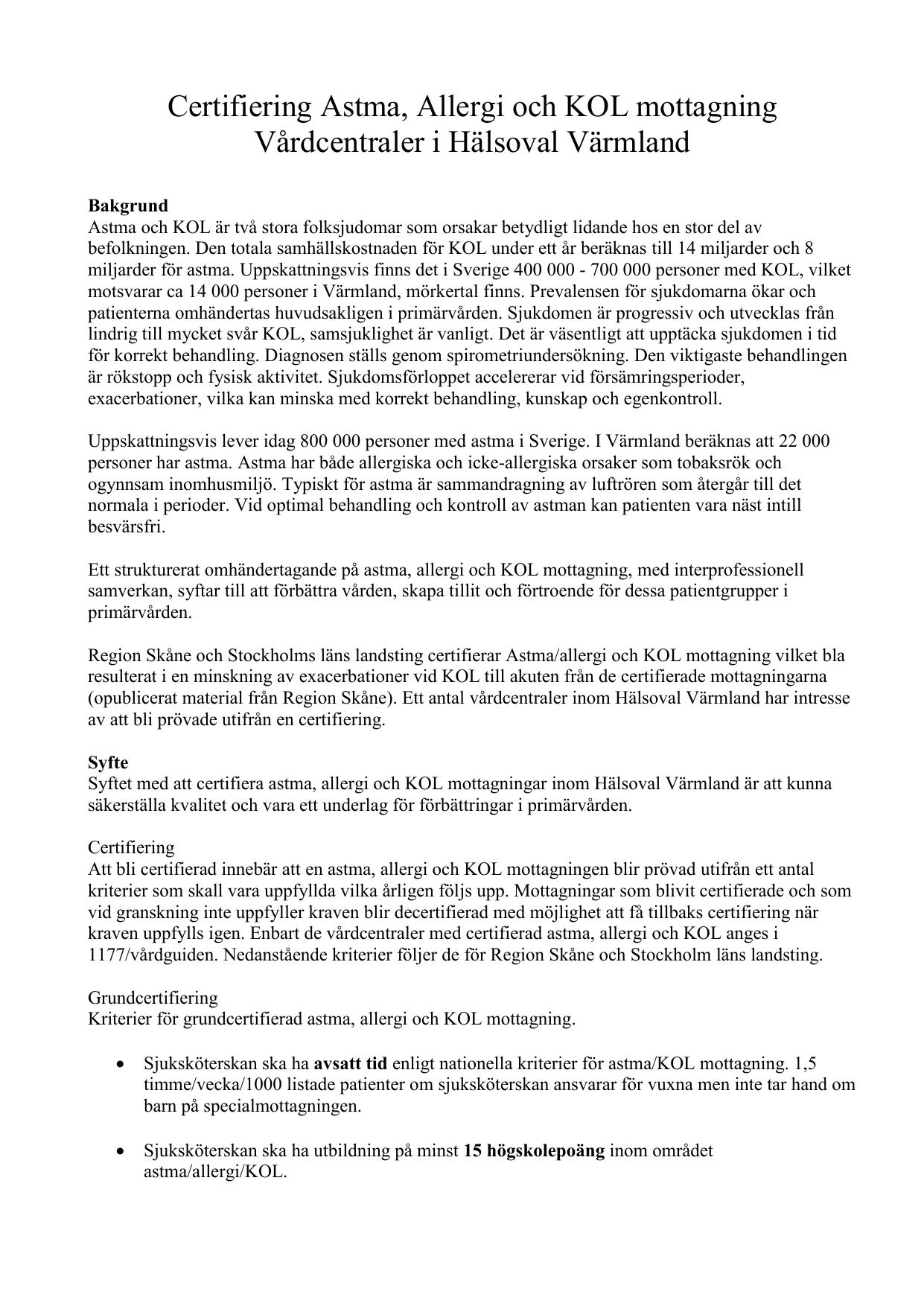 Certifiering Astma Allergi Och Kol Mottagning Vardcentraler I