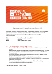 Sponsorsmeny för Social Innovation Summit 2016 GULD