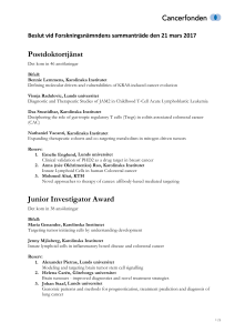 Postdoktortjänst Junior Investigator Award