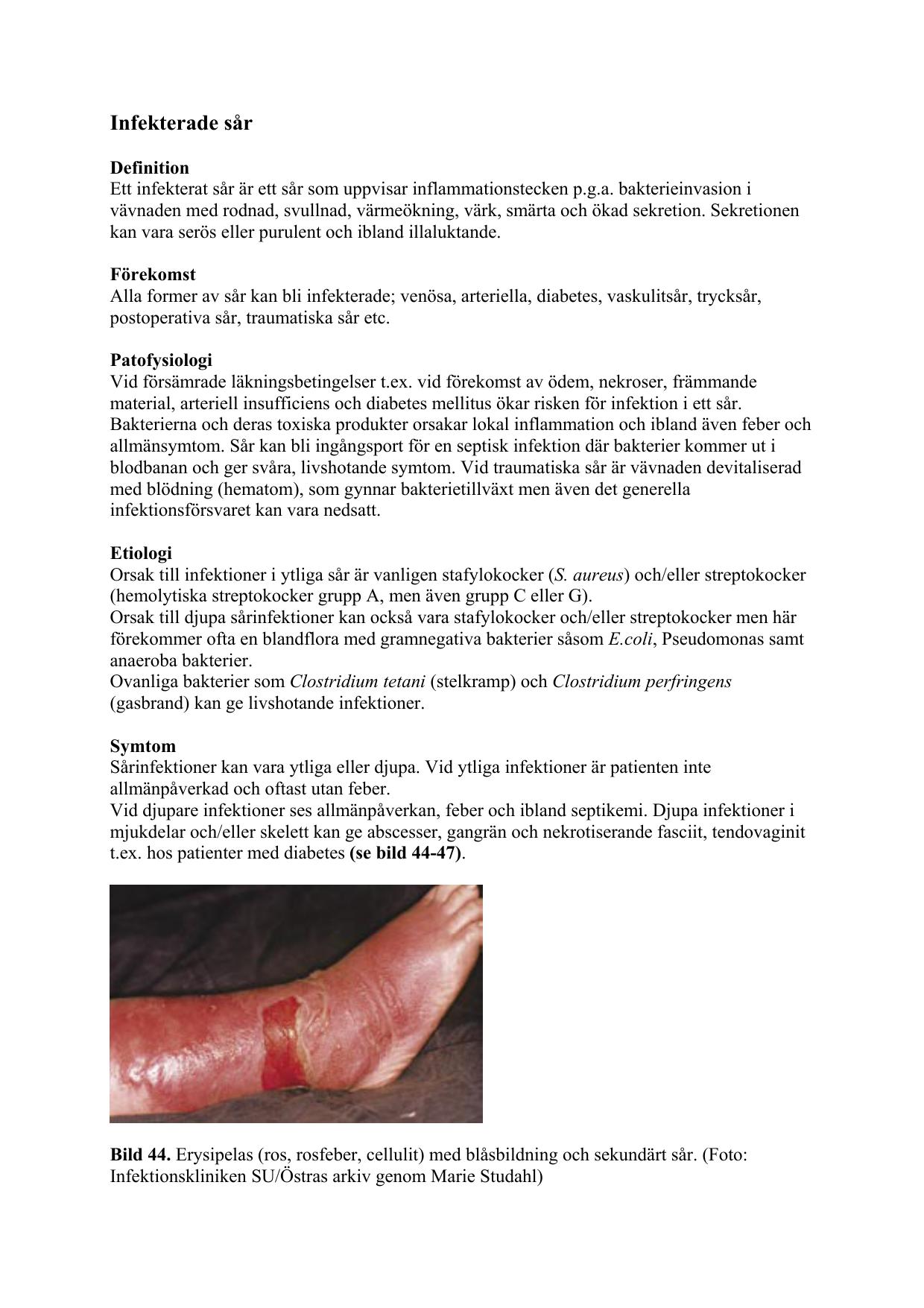 tecken på sårinfektion