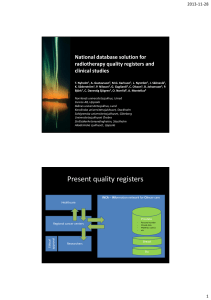 National database solution for radiotherapy quality registers and