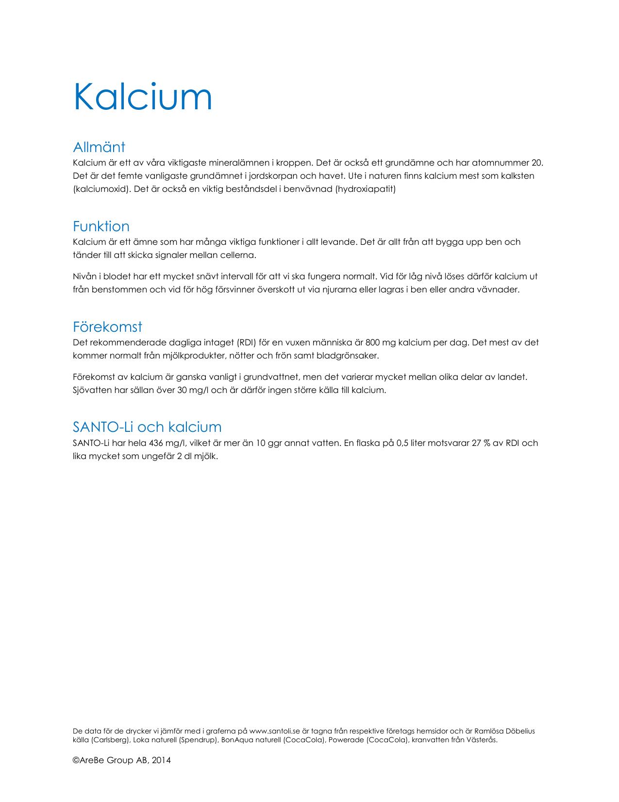 kalcium per dag