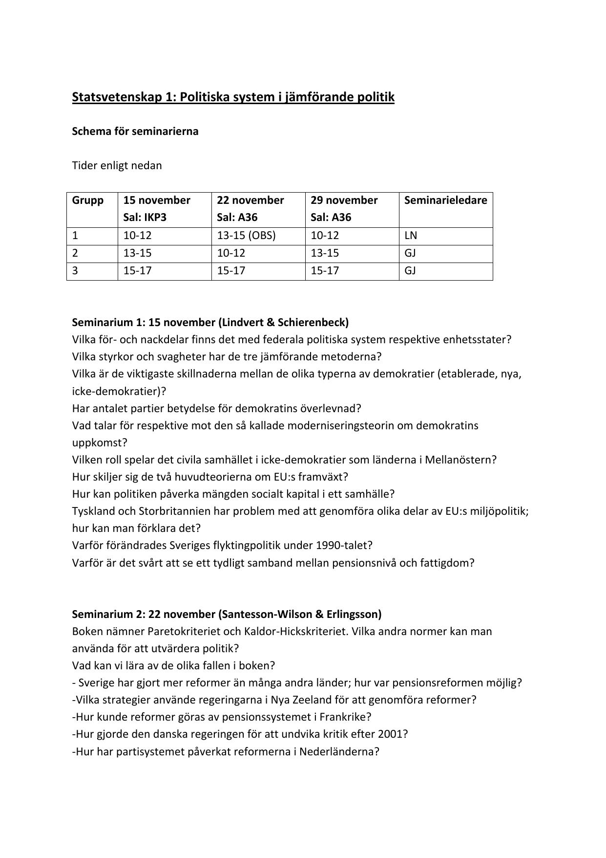Statsvetenskap 1 Politiska System I Jamforande Politik