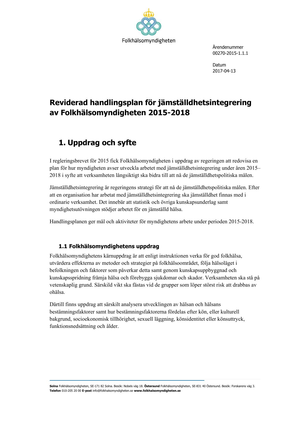 Folkhalsomyndighetens Plan For Jamstalldhetsintegrering 2015 2018
