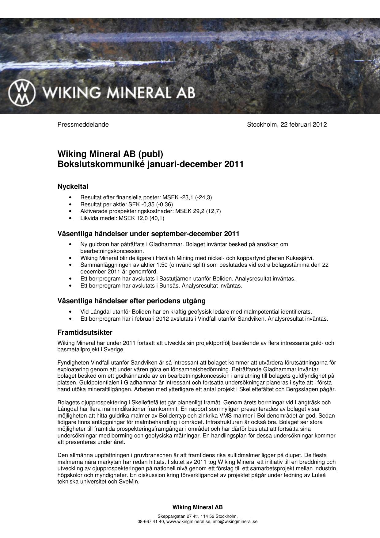 wiking mineral aktiekurs