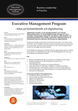 Executive Management Program - Executive Management Institute