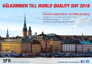 välkommen till world quality day 2016