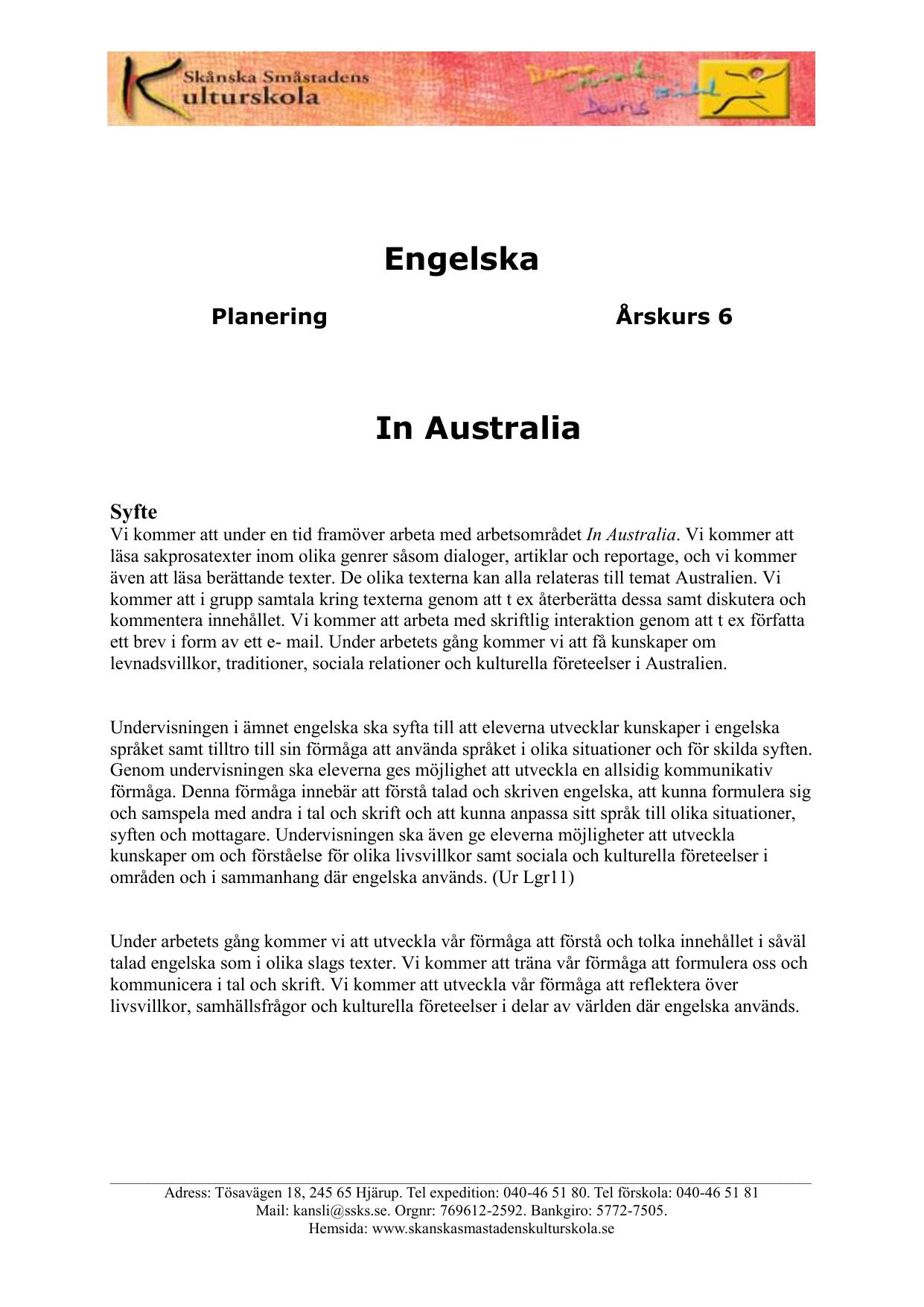 engelska 6 kursplan