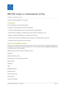 KTH | BB1200 Analys av biomolekyler 6,0 hp