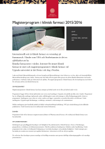 Magisterprogram i klinisk farmaci 2015/2016