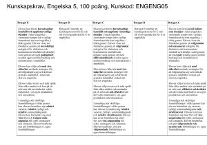 betygskriterier engelska 6