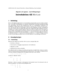 Introduktion till MATLAB