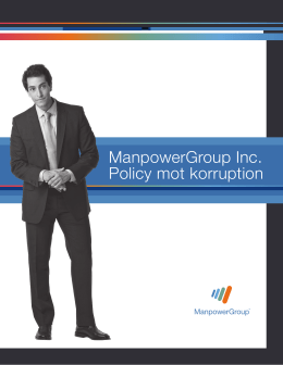 ManpowerGroup Inc. Policy mot korruption