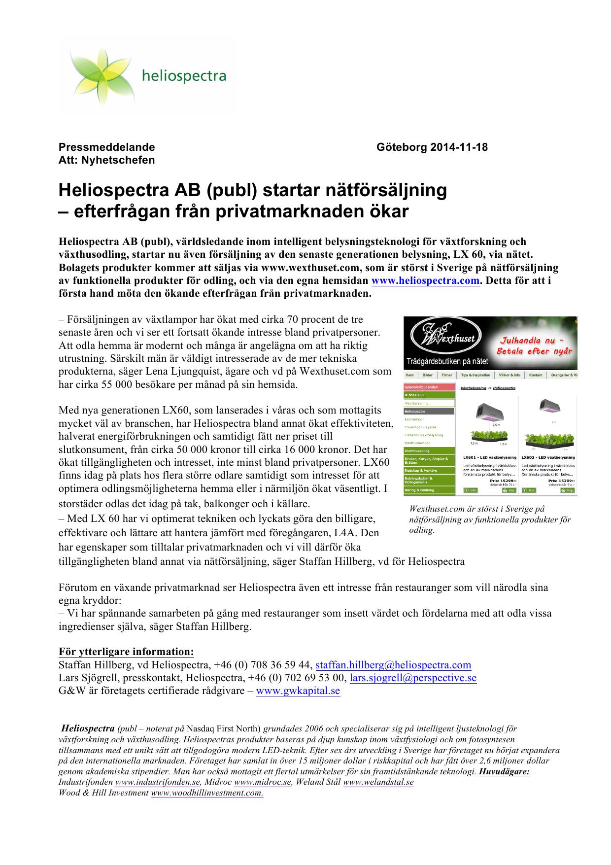 a4e911de0791 Heliospectra AB (publ) startar nätförsäljning – efterfrågan från