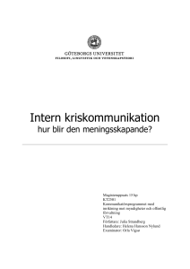 Intern kriskommunikation - GUPEA