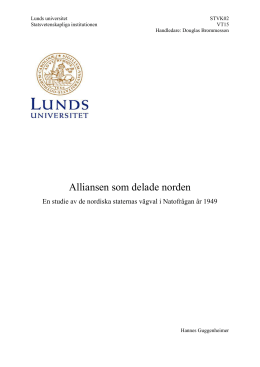 Alliansen som delade norden - Lund University Publications