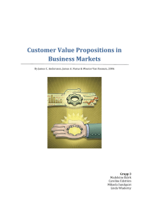 Customer Value Propositions in Business Markets
