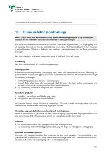 13. Enteral nutrition (sondmatning)