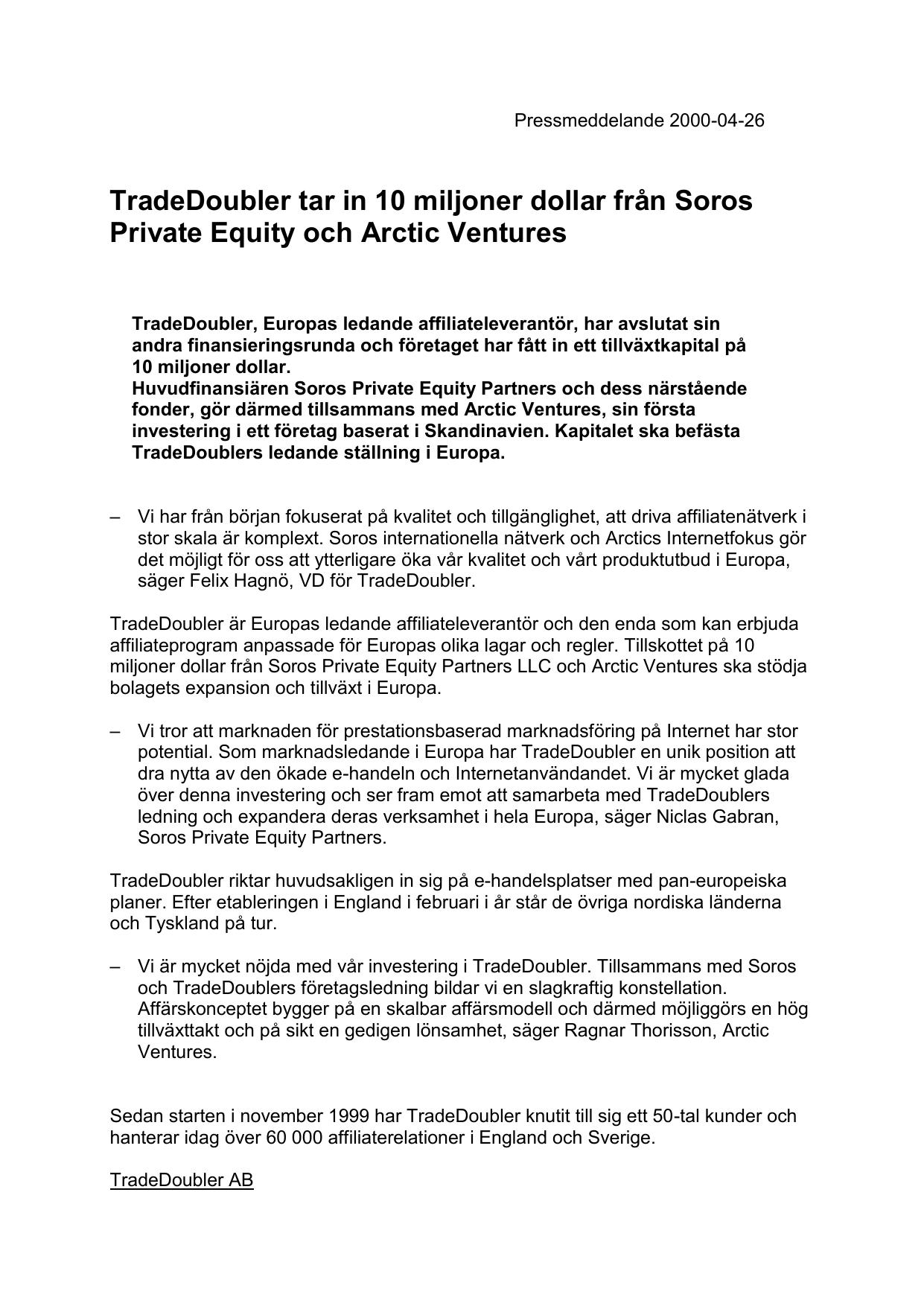 Soros huvudfinansiär när TradeDoubler säkrar andra