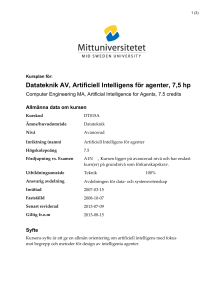 Datateknik AV, Artificiell Intelligens för agenter, 7,5 hp