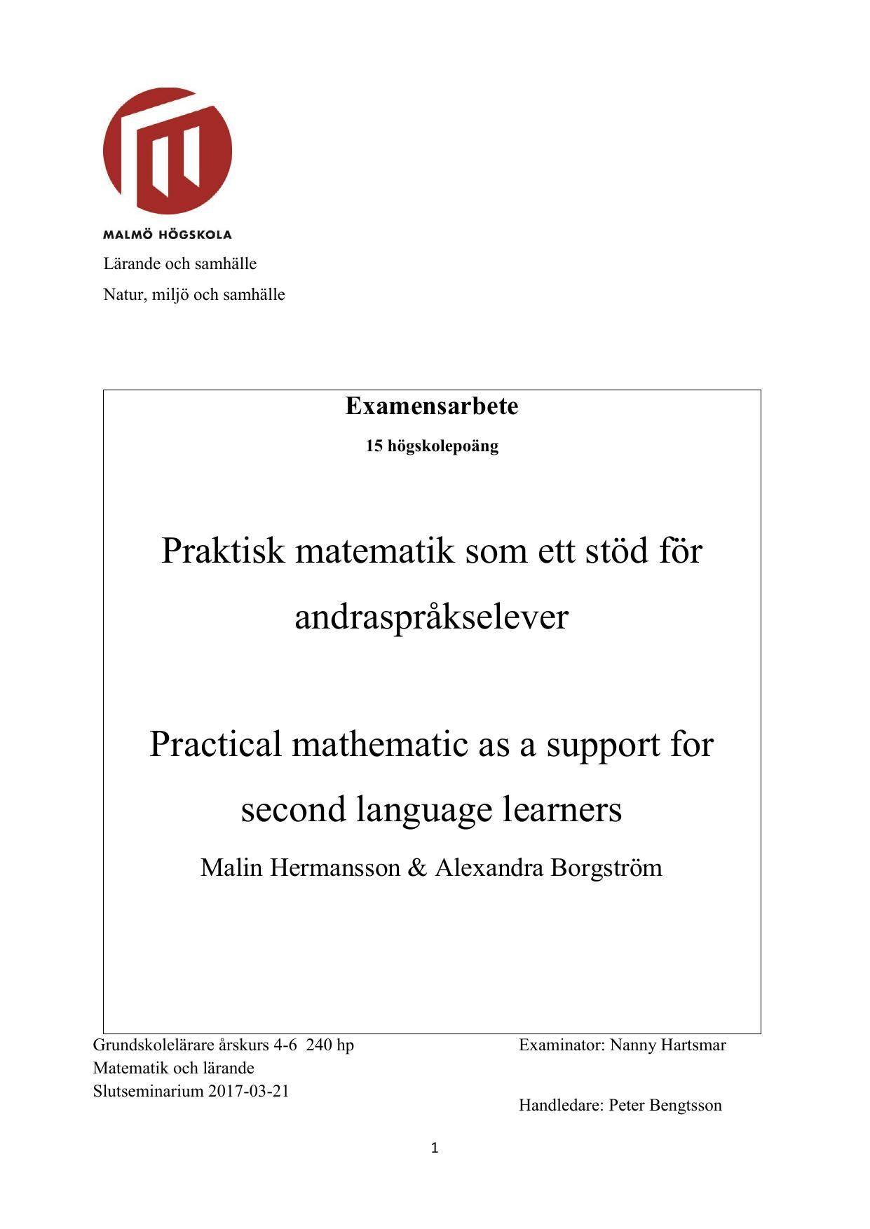 Praktisk matematik som ett stöd för andraspråkselever Practical 2799b172c3c08