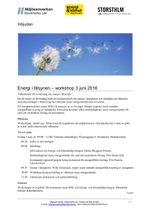 Energi i tillsynen – workshop 3 juni 2016