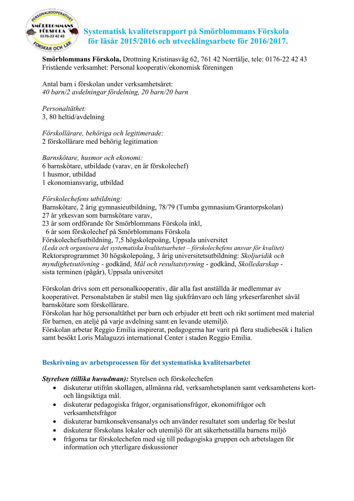 Systematisk Kvalitetsrappoet For Aret 15 16 Utv 16 1