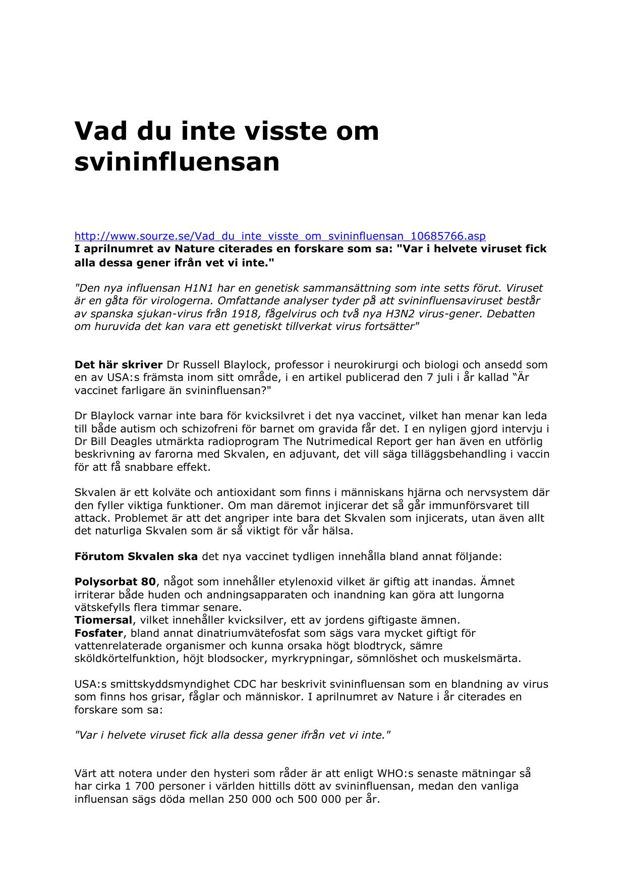 Atta doda i svininfluensan i storbritannien