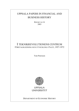 uppsala papers in financial and business history i