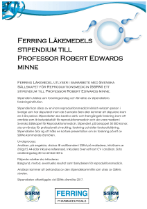Ferring Läkemedels stipendium till Professor Robert Edwards minne