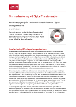 Om kravhantering vid Digital Transformation - Lexicon IT
