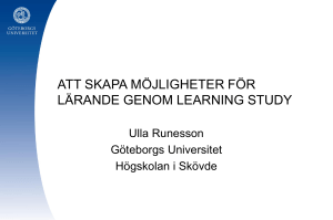 Learning study - Göteborgs universitet