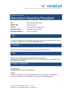 Misconduct Reporting Procedure