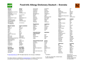 Food-Info Allergy Dictionary Deutsch – Svenska - Food