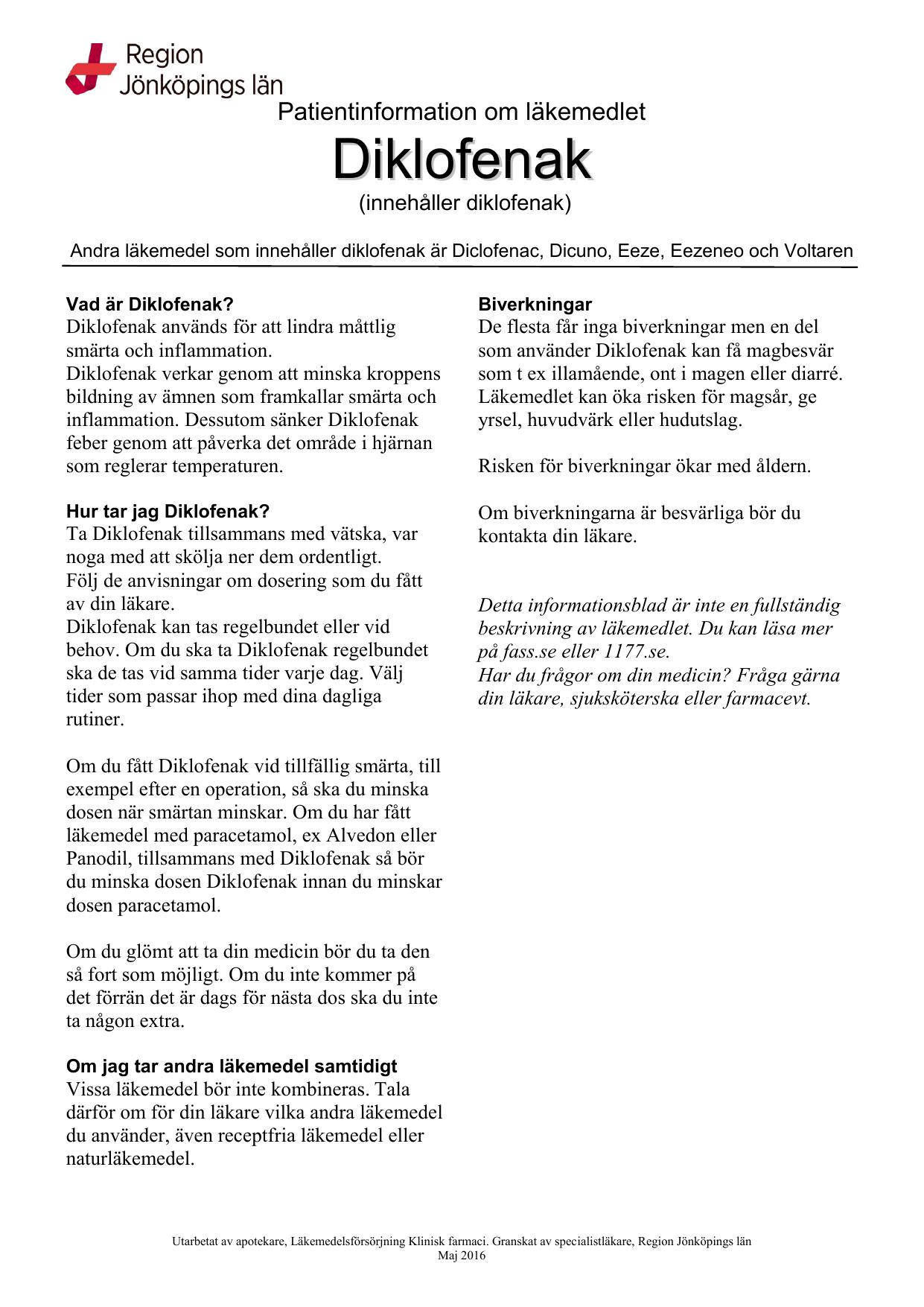 alvedon och diklofenak tillsammans