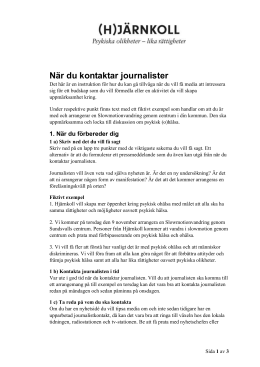 Instruktion och tips – när du kontaktar journalister
