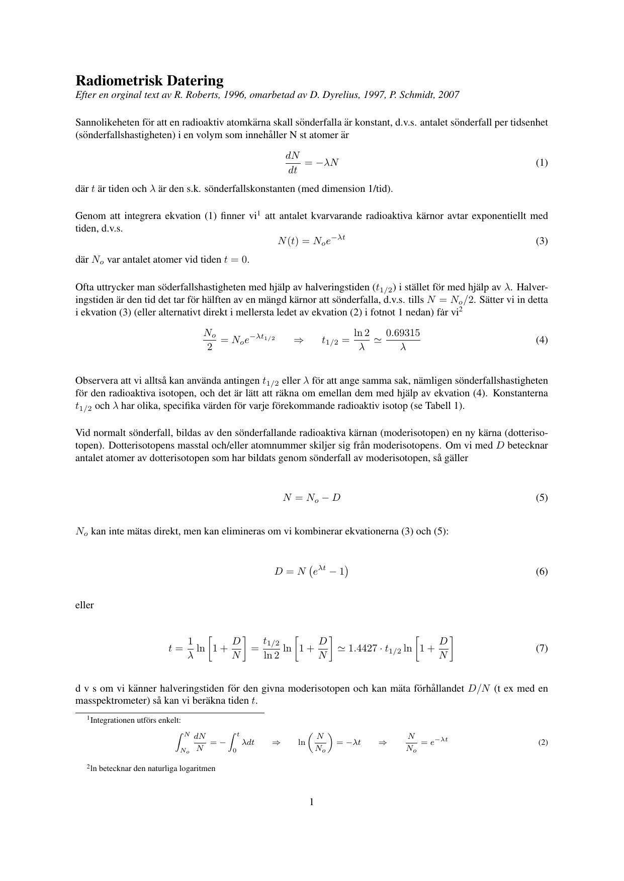 Radiometrisk datering halveringstid