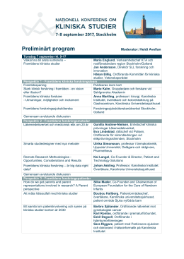 Preliminärt program - Karolinska Trial Alliance