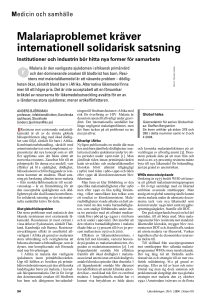 Malariaproblemet kräver internationell solidarisk