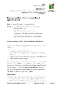 Diabetes mellitus- rutiner i samband med operation (barn)