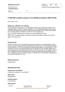 P-VWF:MS, multimer analys av Von Willebrand