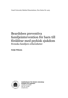 Beardslees preventiva familjeintervention för