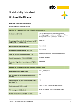 Sustainability data sheet StoLevell In Mineral