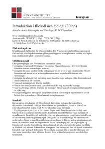 Introduktion i filosofi och teologi (30 hp)