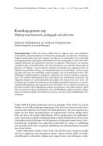 Kunskap genom rap - Open Journal Systems at Lund University