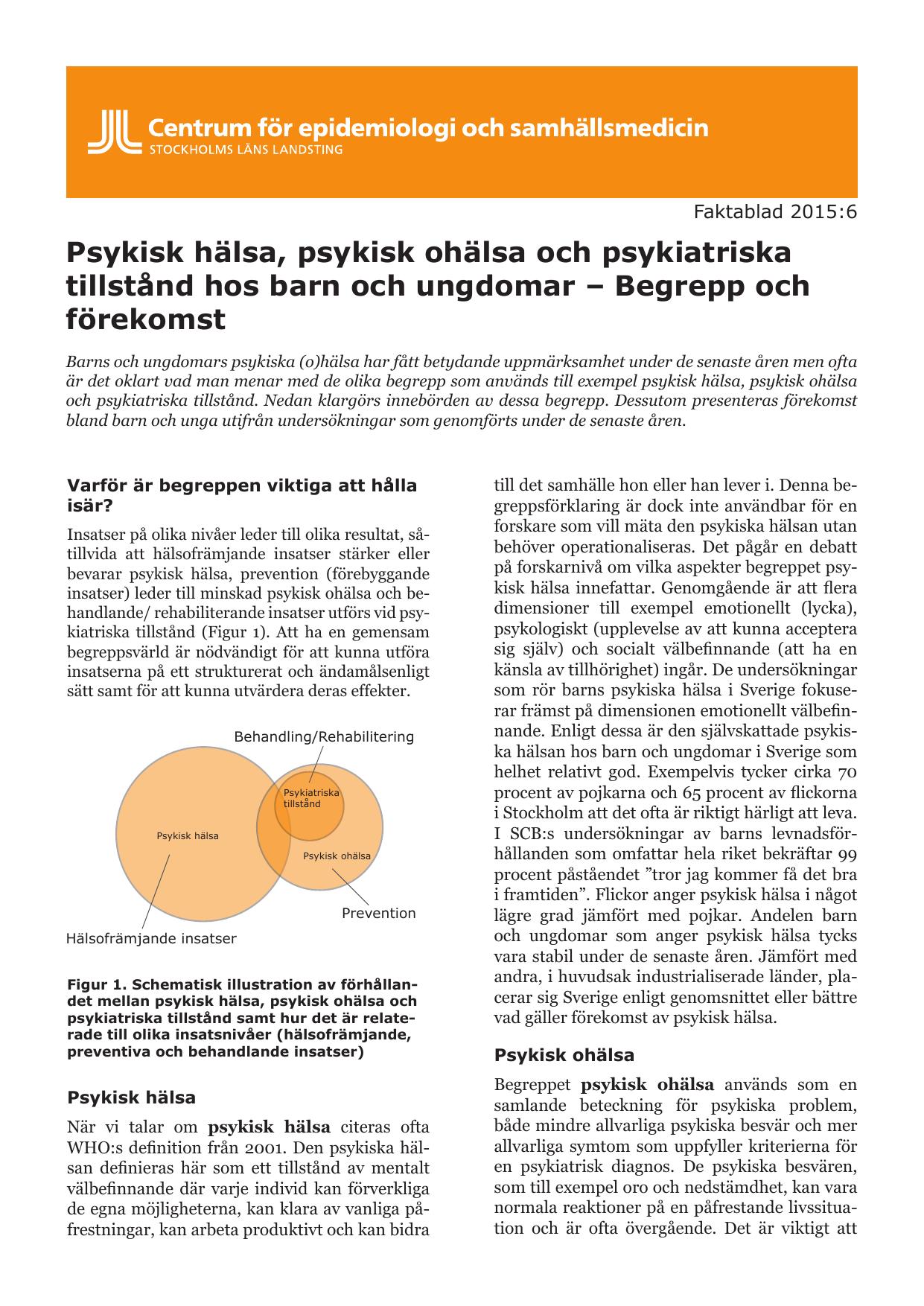 definition psykisk ohälsa