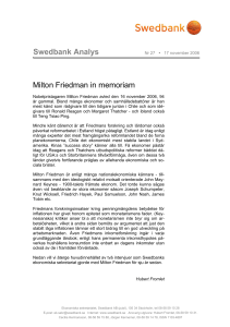 Swedbank Analys Milton Friedman in memoriam
