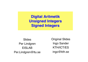Digital Aritmetik Unsigned Integers Signed Integers