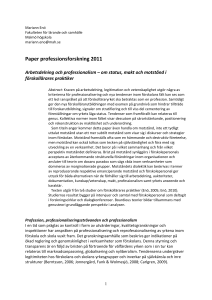 Paper professionsforskning 2011