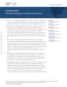 Goldman Sachs - Next recession lessons from history